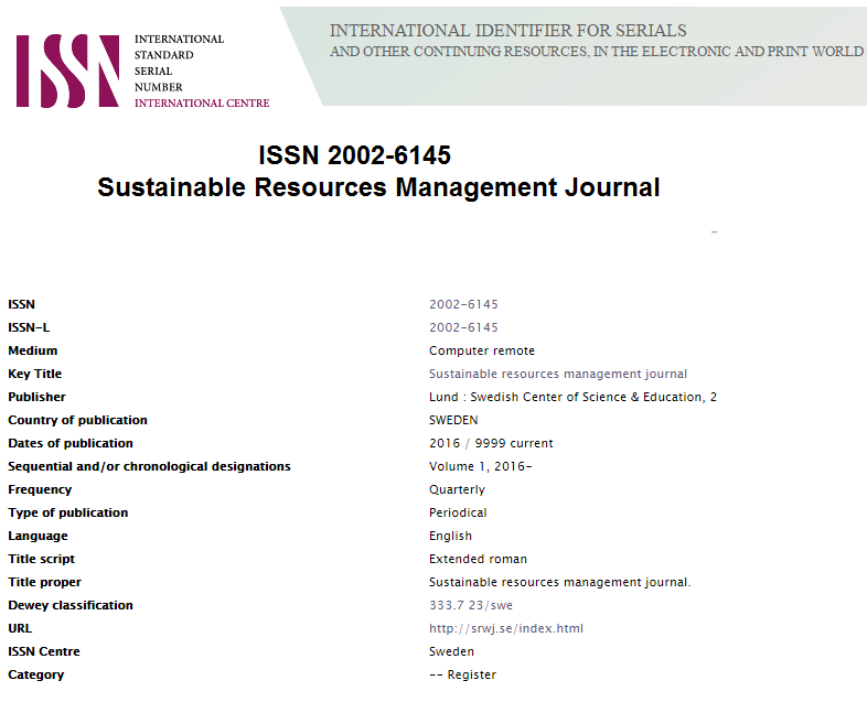 Sustainable Resources Management Journal